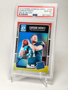 CARSON WENTZ 2016 OPTIC RED AND YELLOW PSA 10 RATED ROOKIE