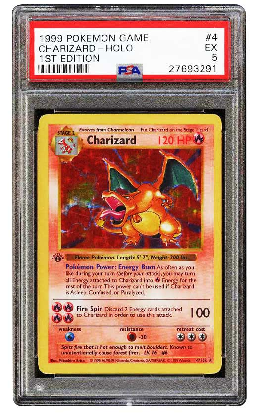 1999 charizard 1st edition holographic #4 graded psa 5 EX front