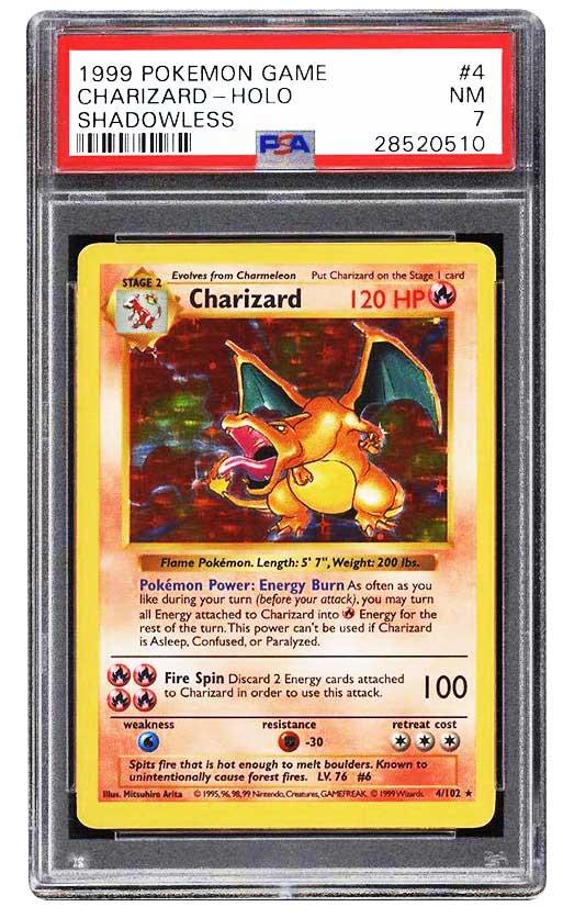 1999 charizard pokemon psa 7 shadowless 1st edition psa grading pokemon cards