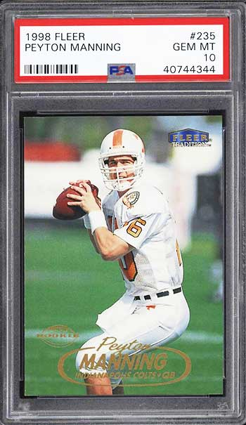Top 25 Peyton Manning Rookie Card List Psa Graded Rc Value