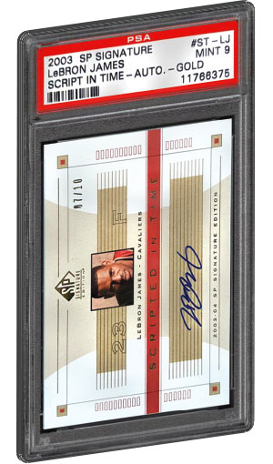 2003 SP Signature Lebron James Rookie Card Script in Time Gold Autograph PSA Graded