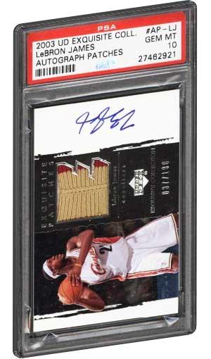 2003 Upper Deck Exquisite Collection Lebron James Rookie Card Jersey Autograph PSA Gem Mint 10