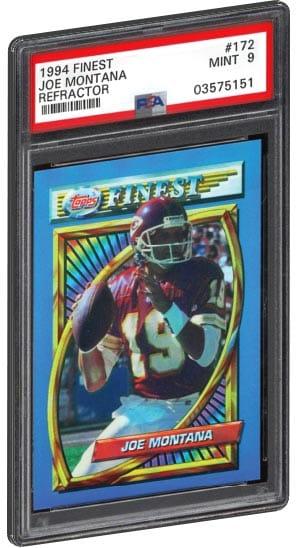 1994 Finest Joe Montana Football Card Refractor PSA Graded Mint 9