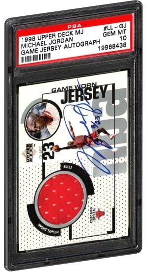 1998 Upper Deck Michael Jordan game used jersey auto card