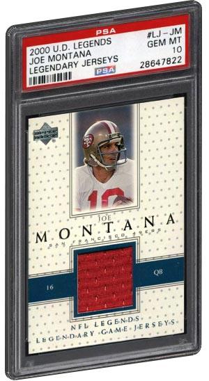 2000 U.D. Legends Joe Montana Football Card Legendary Jerseys PSA 10