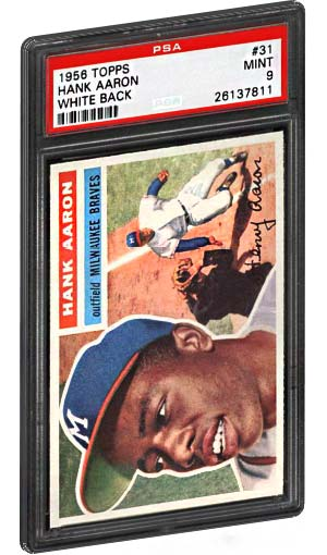 1956 Topps Hank Aaron Baseball Card White Back PSA Graded Mint 9