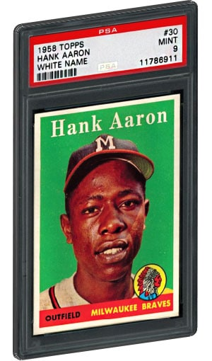 1958 Topps White Name Hank Aaron Baseball Card PSA Mint 9