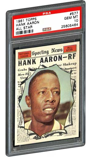 1961 Topps All Star Hank Aaron Baseball Card PSA Gem Mint 10