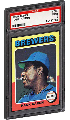 1975 Topps Hank Aaron Baseball Card PSA Graded Mint 9
