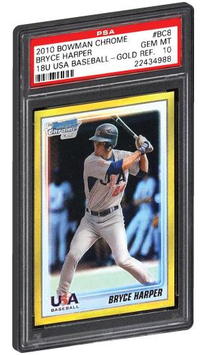 2010 Bowman Chrome Gold Refractor Bryce Harper Rookie Card PSA 10 Gem Mint condition