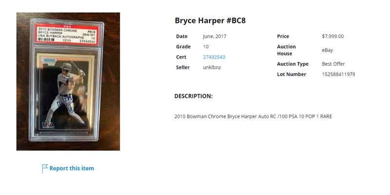 2010 Bowman Chrome USA buyback autograph Bryce Harper rookie card psa 10 sold on eBay