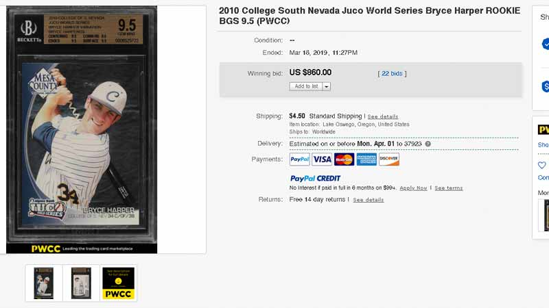 2010 College of South Nevada Bryce Harper rookie card Juco World Series ebay final sale
