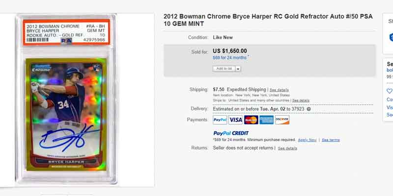 2012 Bowman Chrome Gold Refractor Bryce Harper RC card autograph eBay final sale