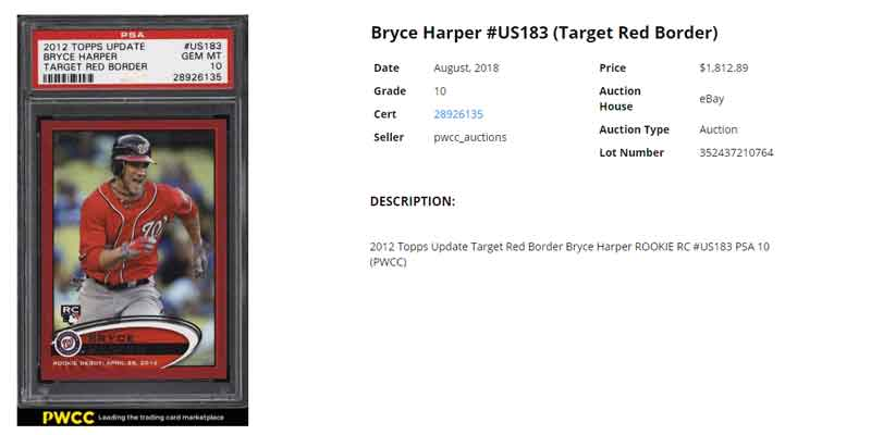 2012 Topps Update Bryce Harper RC Red Border Target Rookie Card sold on eBay