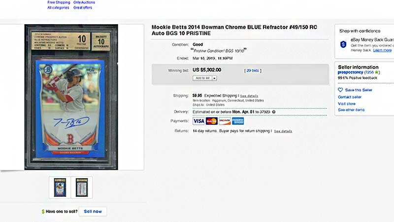 2014 Bowman Chrome Prospects Mookie Betts blue refractor rookie autograph BGS 10 pristine condition