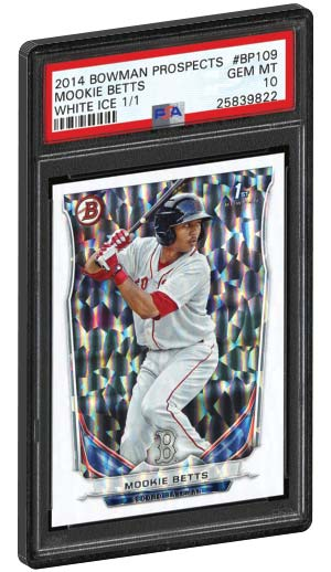 2014 Bowman Prospects Mookie Betts White ICE rookie card one of one psa 10