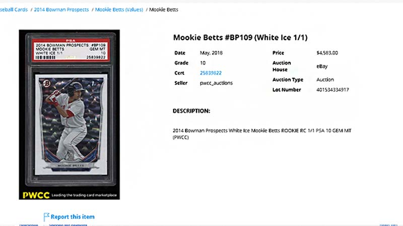2014 Bowman Prospects Mookie Betts White ICE rookie card sale price