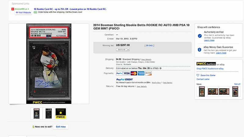 2014 bowman sterling mookie betts rc sold on ebay
