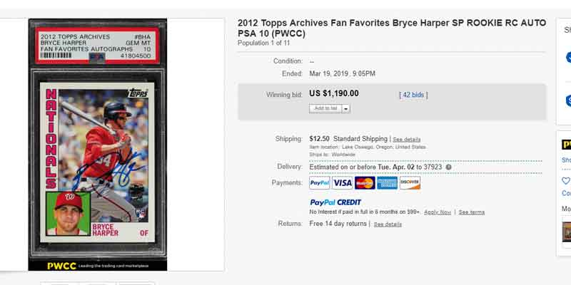 Bryce Harper 2012 Topps Archives Fan Favorites eBay auction final sale