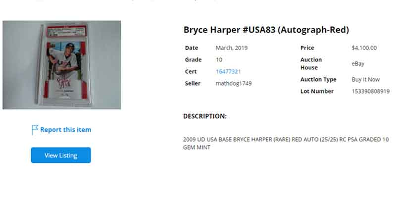 Bryce Harper USA Red parallel upper deck autograph rookie card sold on ebay