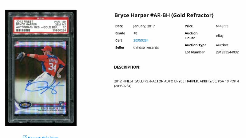 bryce harper ebay rookie card sale